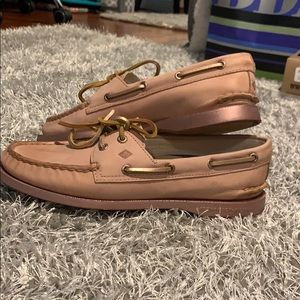 Rose gold sperry boat shoes